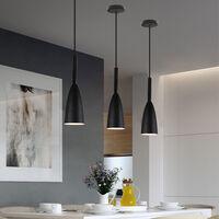 Nordic Modern Pendant Light Retro Hanging Light Vintage Style Pendant Lamp (Black) for Bedroom Cafe Living Room Indoor Lighting