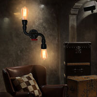 Rustic Industrial Wall Lamp Black Vintage Double Heads Wall Light Retro Metal Wall Sconce for Living Room, Dining Room, Office, Pub, Cafe, Hotel