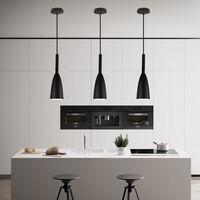 2X Nordic Modern Pendant Light Retro Hanging Light Vintage Style Pendant Lamp (Black) for Bedroom Cafe Living Room Indoor Lighting