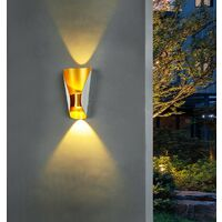 Modern Wall Light Aluminium Metal Wall Lamp Warm White Led Wall Sconce for Hallway, Garden, Bedside, Living Room (White Gold)