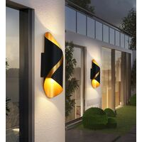 Modern Wall Light Aluminium Metal Wall Lamp Warm White Led Wall Sconce Indoor Wall Light for Hallway, Garden, Bedside, Living Room (Black Gold)