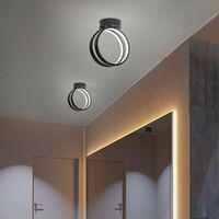 Modern Led Ceiling Light Nordic Chandelier Creative Acrylic Circle Ceiling Lamp Black for Bedroom, Kitchen, Living Room, Corridor, Restaurant, Balcony, Cold White