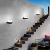 Modern Wall Light Led Black Wall Lamp Minimalist Wall Sconce Acrylic Wall Light for Bedroom Garden Courtyard Balcony Cold White