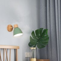 Modern Wall Light Wood Nordic Wall Sconce Green Retro Vintage Wall Lamp for Indoor Bedroom Cafe Bar Living Room