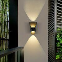 Modern Wall Light Aluminium Metal Wall Lamp Warm White Led Wall Sconce for Hallway, Garden, Bedside, Living Room (Black)