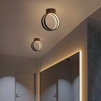 Modern Led Ceiling Light Nordic Chandelier Creative Acrylic Circle Ceiling Lamp Black for Bedroom, Kitchen, Living Room, Corridor, Restaurant, Balcony, Warm White