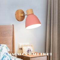 Modern Wall Light Wood Nordic Wall Sconce Pink Retro Vintage Wall Lamp for Indoor Bedroom Cafe Bar Living Room