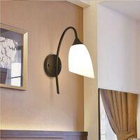 Modern Wall Light,Glass Lamp Shade,Modern Retro Wall Lamp Black for Bedroom, Living Room, Hallway, Hotel