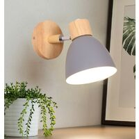 Modern Wall Light Wood Nordic Wall Sconce Vintage Retro Wall Lamp for Indoor Bedroom Cafe Bar Living Room Gray