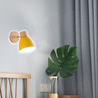 Modern Wall Light Wood Nordic Wall Sconce Yellow Retro Vintage Wall Lamp for Indoor Bedroom Cafe Bar Living Room