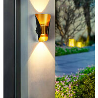 Modern Wall Light Aluminium Metal Wall Lamp Warm White Led Wall Sconce for Hallway, Garden, Bedside, Living Room (Black Gold)