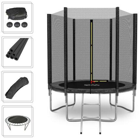 Trampoline de Jardin Deluxe 6FT ø185cm Noir - avec Filet de sécurité, Tapis de saut, Coussin de protection, Echelle - Noir