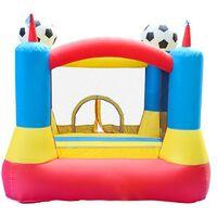 Château gonflable 2,25m : aire de jeux rebondissante - souffleur et sac de rangement inclus - Football Aréna Castle - Multicolore