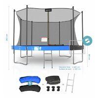 Trampoline de Jardin Classique 14FT ø427cm Pack trampo avec Matelas Réversible Bleu/Noir, Echelle, Filet de sécurité - Bleu / Noir