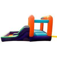 Château Gonflable Aqua Parc avec toboggan, piscine et basketball, Surface 410x240x200 cm - souffleur et sac de rangement inclus - Multicolore