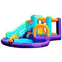 Château Aquatique Gonflable Sunny Jungle avec toboggan et cible, 430x400x225 cm - souffleur et sac de rangement inclus - Multicolore