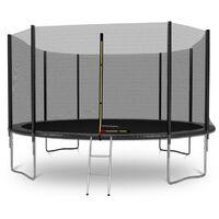 Trampoline de Jardin Deluxe 12FT ø366cm Noir - avec Filet de sécurité, Tapis de saut, Coussin de protection, Echelle - Noir
