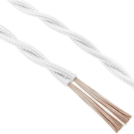 BeMatik - Cable eléctrico decorativo trenzado 25m 2x0.75mm de color blanco