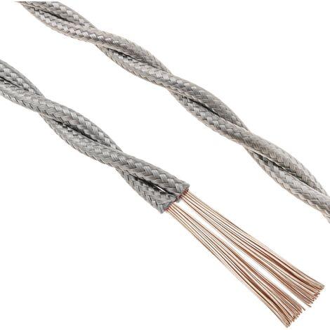 BeMatik - Cable eléctrico decorativo trenzado 25m 2x0.75mm de color gris plata