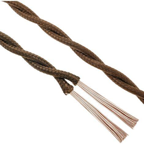 BeMatik - Cable eléctrico decorativo trenzado 25m 2x0.75mm de color marrón