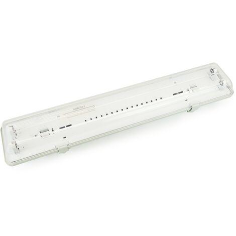 BeMatik - Pantalla estanca para tubo LED 2 x 600 mm con conexión en dos extremos IP65 T8 G13