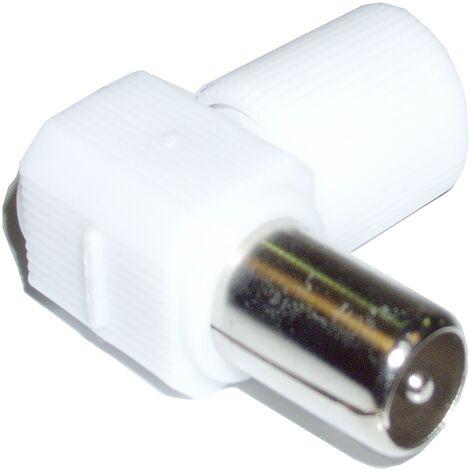 BeMatik - Conector Antena TV Macho (Acodado/Plástico)