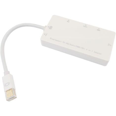 BeMatik - Adaptador de miniDisplayPort a VGA audio HDMI DVI blanco