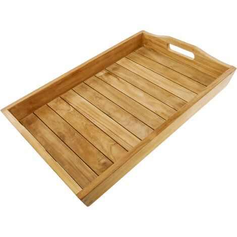 PrimeMatik - Bandeja de baño con asas 60 x 40 x 7 cm spa wellness de madera de teca certificada