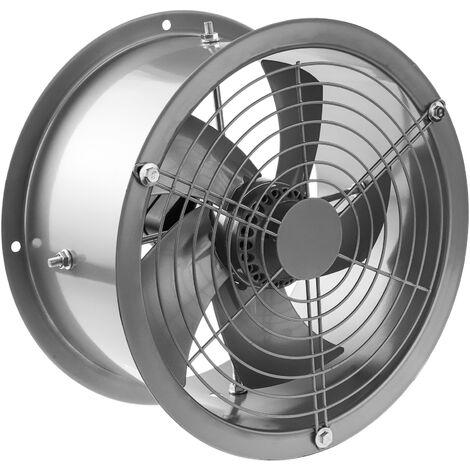 PrimeMatik - Extractor de aire de tubo de 200 mm para ventilación industrial 2550 rpm redondo 260x260x180 mm plateado