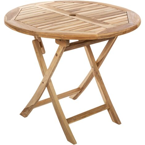 PrimeMatik - Mesa redonda 90 cm plegable para jardín exterior de madera de teca certificada