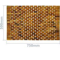 PrimeMatik - Tarima alfombra para ducha y baño enrollable 75 x 50 cm de madera de teca certificada