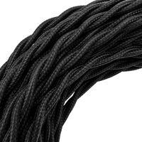 BeMatik - Cable eléctrico decorativo trenzado 25m 2x0.75mm de color negro