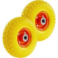 """PrimeMatik - Rueda maciza de carretilla anti-pinchazos amarilla 2-pack 120 Kg 10x3.5"""" 254x89 mm para carros y plataformas de transporte"""