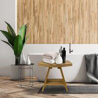 PrimeMatik - Taburete de baño ergonómico con estante 45 x 45 x 30 cm de madera de teca certificada