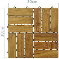 PrimeMatik - Baldosas 30 x 30 cm 12 listones de madera de teca certificada 10 unidades