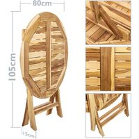 PrimeMatik - Mesa redonda 80 cm plegable para jardín exterior de madera de teca certificada