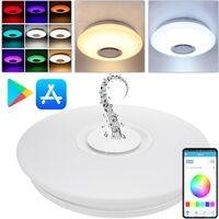 PrimeMatik - Lámpara de techo LED RGB 30W Bluetooth con mando IR y altavoz
