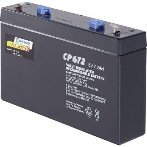 Batterie au plomb 6 V 7 Ah Conrad energy CE6V/7Ah plomb (AGM) (l x H x P) 151 x 94 x 34 mm cosses plates 4,8 mm sans entretien A37950