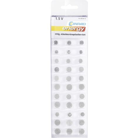 Jeu de piles bouton alcaline(s) Conrad energy SZ-AG39BT 39 pc(s) X37845