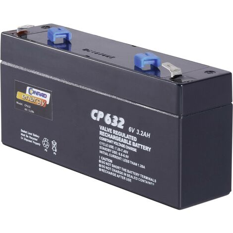 Batterie au plomb 6 V 3.2 Ah Conrad energy CE6V/3,2Ah plomb (AGM) (l x H x P) 134 x 61 x 34 mm cosses plates 4,8 mm sans entretien A37972