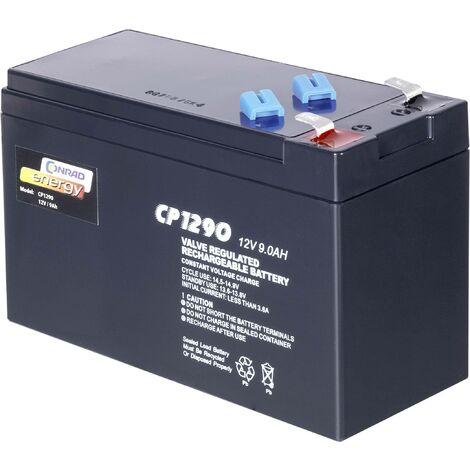 Batterie au plomb 12 V 9 Ah Conrad energy 12 V 9 Ah plomb (AGM) (l x H x P) 151 x 94 x 65 mm cosses plates 6,35 mm sans entretien A37093