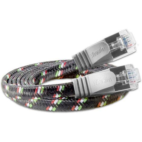 Slim Wirewin RJ45 Câble réseau, câble patch CAT 6 U/FTP 25.00 cm gris plat D639391