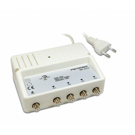 Amplificateur répartiteur 4 sorties F 28 dB avec réglage de gain