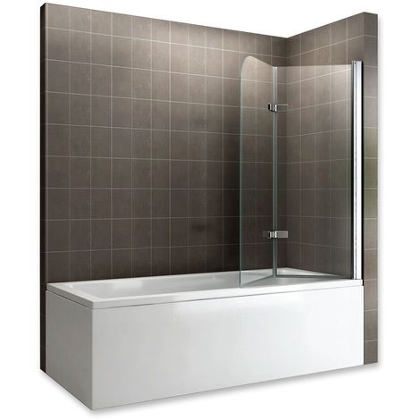 BALY Pare-baignoire rabattable en verre 6 mm 130 x 140 cm transparent