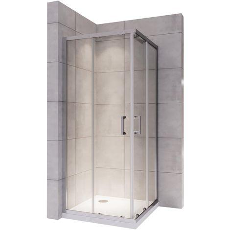 LANA Cabine douche H 190 cm porte coulissante transparent 75x75 cm
