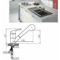 FREYA Robinet mitigeur avec douchette extractible Graphite - Graphite