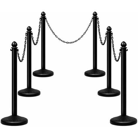 6PCS Stanchions Set Queue Safety Barrier Crowd Control Barriers Security Poles