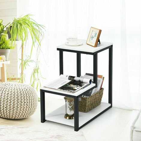 3-Tiers Side Table Metal Snack Table Laptop Desk Home Office Sofa End Table