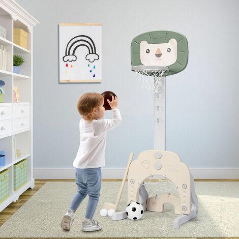 3-in-1 Basketball Hoop Stand Toddler Soccer Golf Game Set 5 Adjustable Height