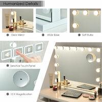 10X LED Vanity Mirror Light Kit 15 Dimmable Bulbs Dressing Table Light Bluetooth